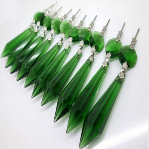 "10pcs Green Chandelier Glass Crystals Lamp Prisms Parts Hanging Pendants height 55mm(2.16"") Home Decor"