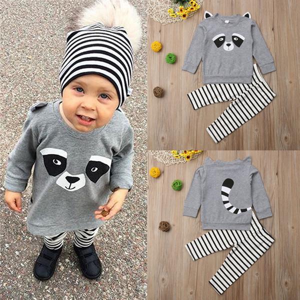 Nuovi abiti per bambini Completi Top a maniche lunghe stampato Panda carino + Pantaloni a righe grigi Set di 2 pezzi Abiti firmati per bambini JY573