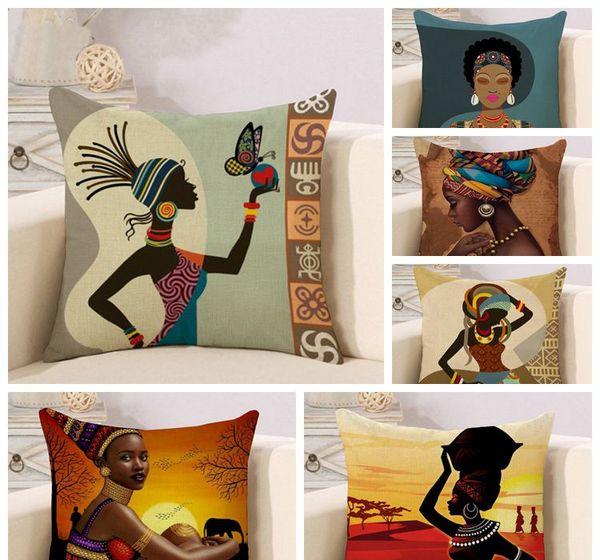 Platz Neue Afrikanische Frauen Drucken Ethnischen Stil Kissenbezug Home Sofa Auto Kissenbezug Anti-Leinen Kissenbezug 45x45 cm