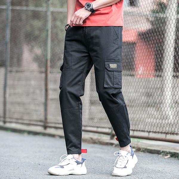 2019 Pantalon cargo élégant Hommes Coton Lavé Solide Streetwear Pantalon Homme Noir Armée Verte Garçons Étudiants Casual Joggers Pant
