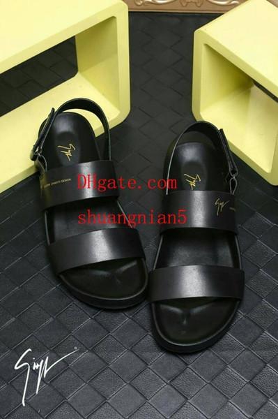 2019 luxe off sandálias dos homens negros puros brancos de alta qualidade duas palavras arrastar couro high-end alargamento mais confortável desgaste