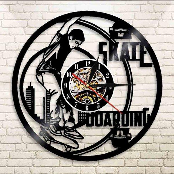Skate Boarding Vinyl LP Record Orologio da parete Skateboarder Silhouette Applique Decor Stile libero Design sportivo estremo