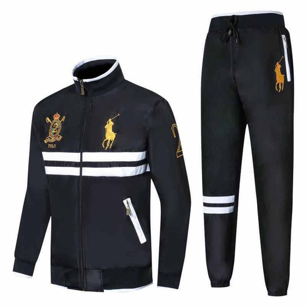 2018 Hoodies e Camisolas dos homens Sportswear Homem Polo Jaqueta calças Jogging Jogger Conjuntos de Esportes Grande cavalo Fatos Fatos de Suor