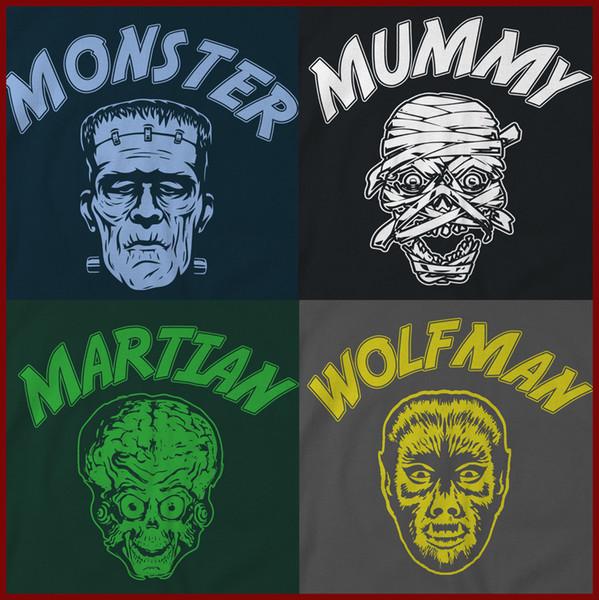 Retro Monster T-Shirts, Halloween tee, classic horror movies shirt, 50's B movie Men Women Unisex Fashion tshirt Free Shipping black