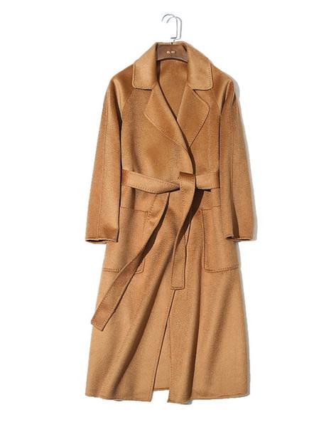 2018 moda otoño invierno para mujer LUJO ALTO FINO lana de cachemira Rizo de agua Gabardina de capa de caramelo