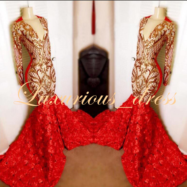 Real Sample Red Mermaid Prom Dresses Long 2019 Deep V-neck Gold Sequin Top 3D Flowers Africa Black Girl Long Sleeve Evening Dresses