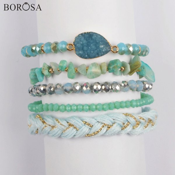 wholesale 5Sets (5Pcs/set Rainbow Bracelets) Amazonite Beads Crystal Green Glass Beads Druzy Connector Bracelet Sets Jewelry WX1184