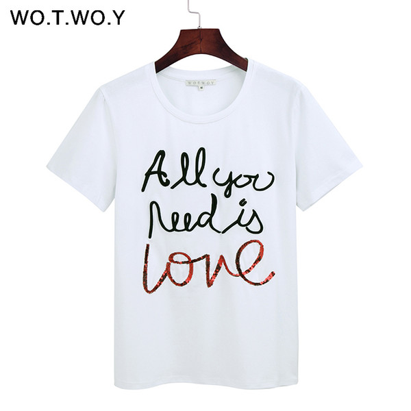 Wotwoy Summer Sequin Tops Tees Woman Funny Letter Embroidery T Shirt Women Black White O-neck Cotton T-shirt Femme New Q190508