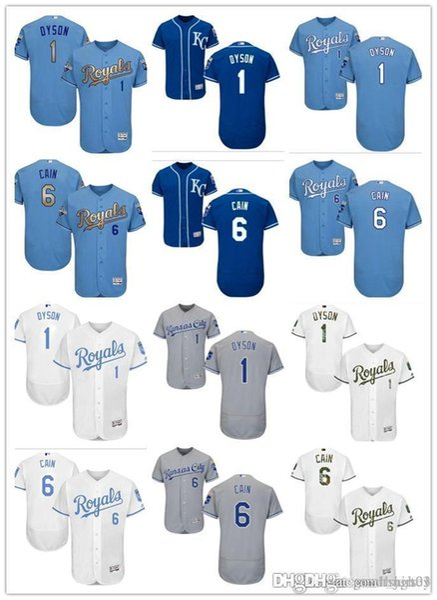 Benutzerdefinierte Männer Frauen Jugend KC Royals Jersey personalisierte # 6 Lorenzo Cain 1 Jarrod Home blau weiß grau Baseball-Trikots