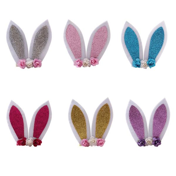 6 farbe baby stirnbänder kaninchen ohren baby mädchen stirnband cartoon bunny haarbänder blume kopf bands niedlich haarschmuck aa1944