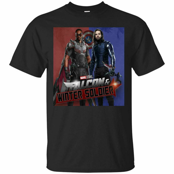 Фалькон Баки Новая футболка Мстители Sam И Баки Mens Black S-3XL. Custom Print Tee Shirt