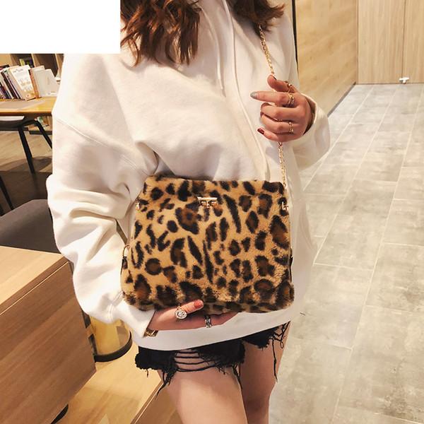 good quality Women Leopard Chain Shoulder Bag Handbag Faux Fur Crossbody Bags For Women Messenger Satchel Ladies Purse Phone Tote Bag