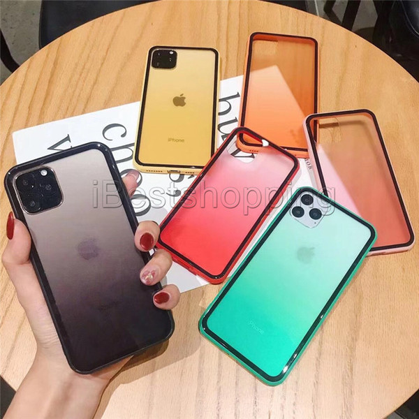 For New iPhone 11 Pro XR X XS MAX Rainbow Clear TPU Soft Protector Full Package Cover Gradient Transparent Color Shockproof Phone Case
