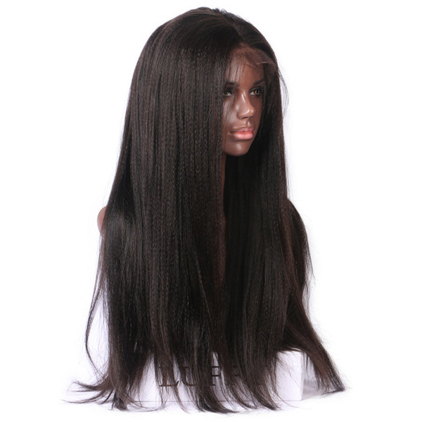Head-made lace front Wig and full lace yaki straight human hair wig for with baby hair Glueless Customized Free Shipping for black women