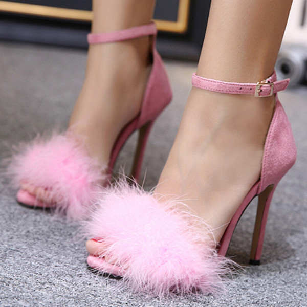 G.L.Brother Fur Sandals Heel Women High Heel Sandal Sexy Stripper Shoes Women Thin Heels Sandale Fourrure Femmes