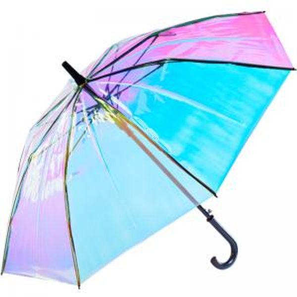 Laser Transparent Umbrella Rain Sunshade Long Handle Colorful Gradient Plastic PVC Holographic Umbrellas Outdoor Travel Umbrella 50 OOA6152