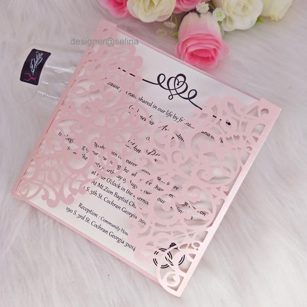 Compre Blush Pink Laser Cut Tarjetas De Las Invitaciones Para La Boda Nupcial De La Ducha Invitación De Negocios Cumpleaños Quinceañera Graduación