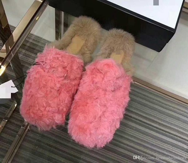 red yellow pink black spring autumn women fur slippers curly buckles lazy rooming slippers shoes cozy slippers loafers flats