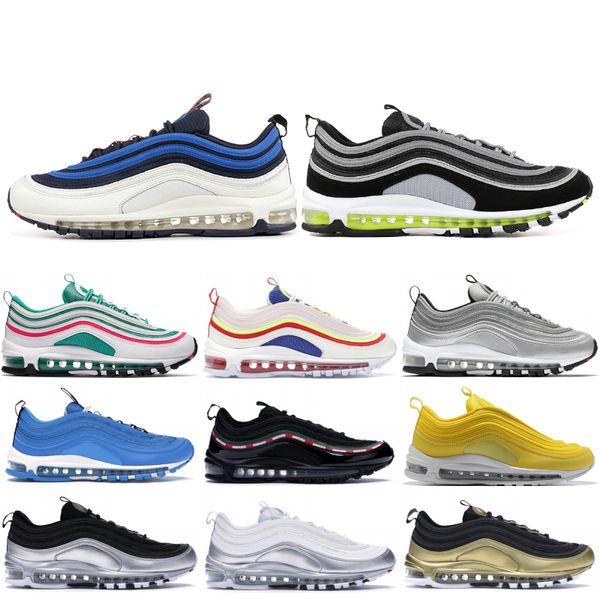 Nike Air Max 97 Zapatos para correr para hombre Balck Metallic Gold South Beach PRM Amarillo Triple Blanco Diseñador Mujeres Zapatillas deportivas US 36-45