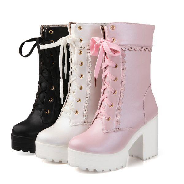 Outono e inverno novos sapatos doces japoneses, terraço impermeável de salto áspero, Martin botas de salto alto