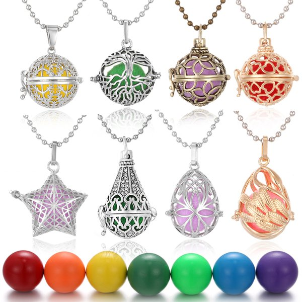 Harmony Neckalces 16MM Harmony Chime Bell Ball Angel Ball Pendants Jewelry Copper Harmony Caller Musical Pregnancy Pendant Necklace