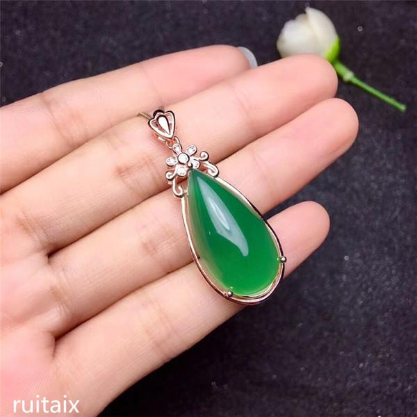 KJJEAXCMY butik mücevherleri S925 Saf gümüş doğal yeşil yeşim medulla kolye + kolye kakma takı bırak eğrisi kır çiçekleri