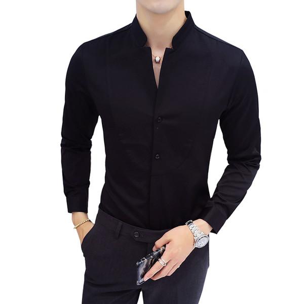 Slim Design Men Shirt Long Sleeve Black Red White Shirt Men Asian Size S - 5XL Stand Collar mens shirts