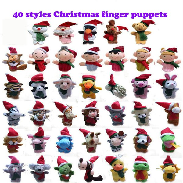 Wholesale -40 Children's Plush Filled Toys 7cm Christmas Animals Christmas Characters Fingers Dolls Sets Girls Gifts Free Shipping