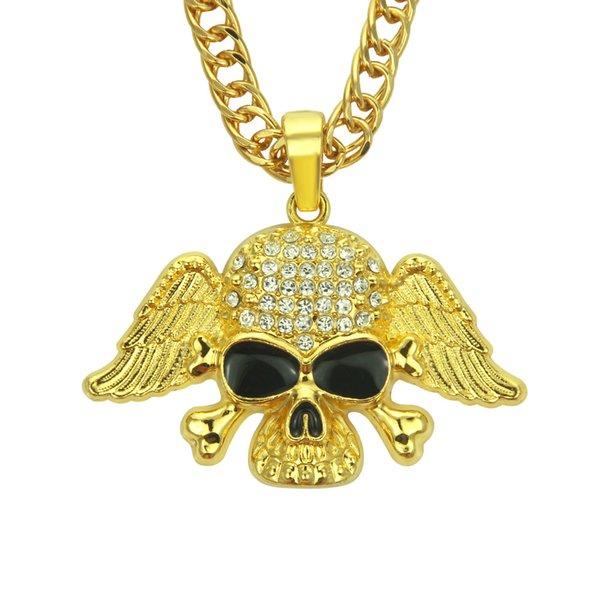 High grade AAA Crystal rhinestone Hip hop pendant necklace for men Skull Hiphop rap jewelry pendant necklace with Angel wings