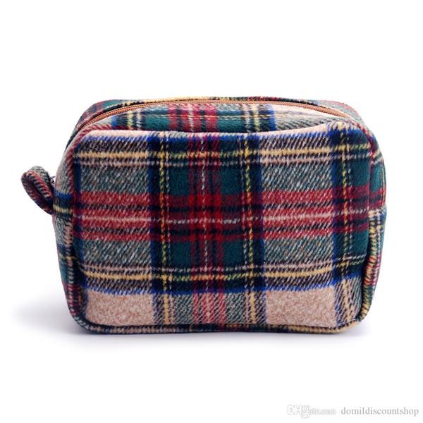 all'ingrosso blanks tan plaid cosmetic bag a spina di pesce pied de poule borsa con chiusura a cerniera in lana materiale DOM676