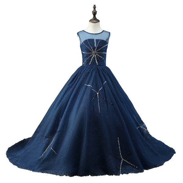 Fashion Navy Cheap Girls Pageant Dresses 2019 Backless Bling Crystal Rhinestones Tulle Sheer Neck Real Photo Long Kids Formal Prom Dress