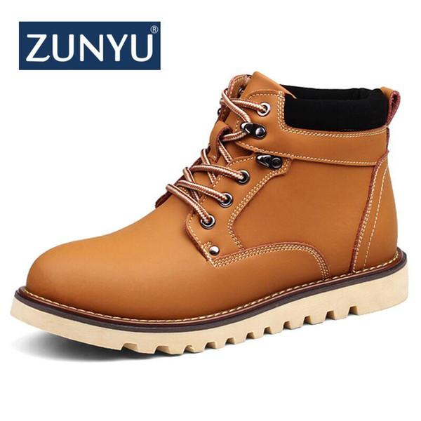 ZUNYU 2018 Nuevas botas de nieve para hombres de cuero genuino Otoño Invierno Botas de tobillo para hombre de trabajo al aire libre Zapatos de trabajo para hombres talla grande 39-46