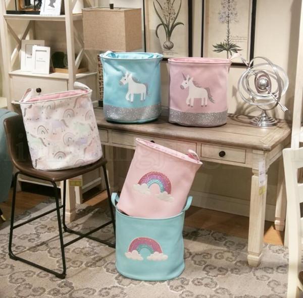 Unicorn Storage Basket for Toys Fabric Rainbow Printed Clothes Basket for Child Folding Laundry Basket LJJK1305