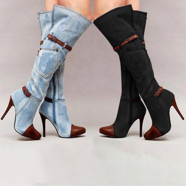 Mujeres estiramiento delgados altos cargadores del muslo de la manera atractiva sobre la rodilla de los altos talones de la hebilla de la correa del talón de estilete botas de invierno ty88 DA220