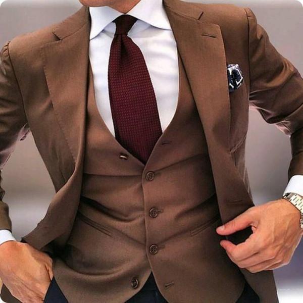 Mode One Button Groomsmen Notch Lapel smokings marié hommes Costumes de mariage / Prom / Dîner Best Man Blazer (veste + pantalon + Tie + Gilet) 684