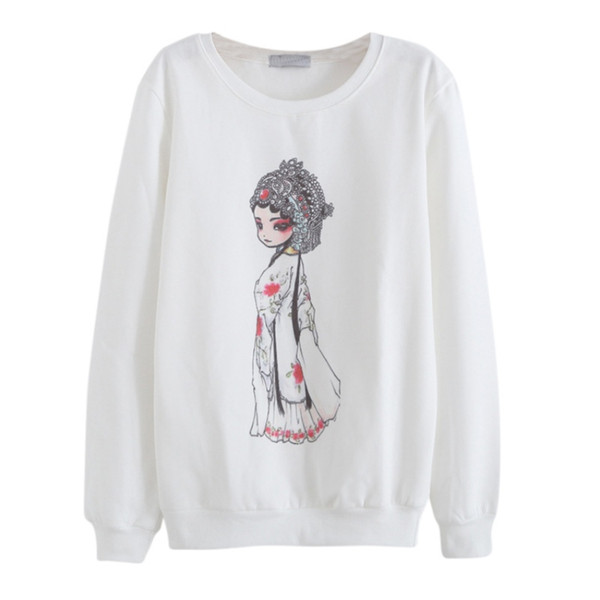 Outono Mulheres Harajuku Fatos Roupas Moda Hoodies Personagem de Impressão em torno do pescoço Feminino Hoodies Moletons