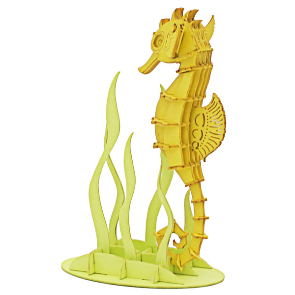 free shipping promotional educational cartoon diy toy model seahorse animal colorful 3d puzzle sale wholesale price oem custom