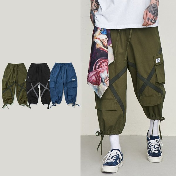 Just Don Hombre Bolsillo Baggy Tactical Tobillo Longitud Pantalones Capris Pantalones sueltos 100% Algodón Ejército Verde Azul Negro Tres colores Pantalones cargo