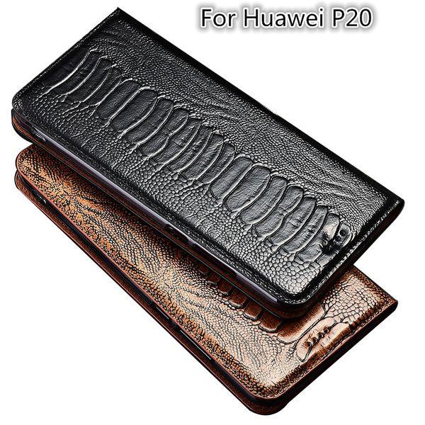 Avestruz pie textura caso del tirón del cuero genuino para Huawei P20 caja del teléfono para Huawei P20 bolso del teléfono titular de la tarjeta