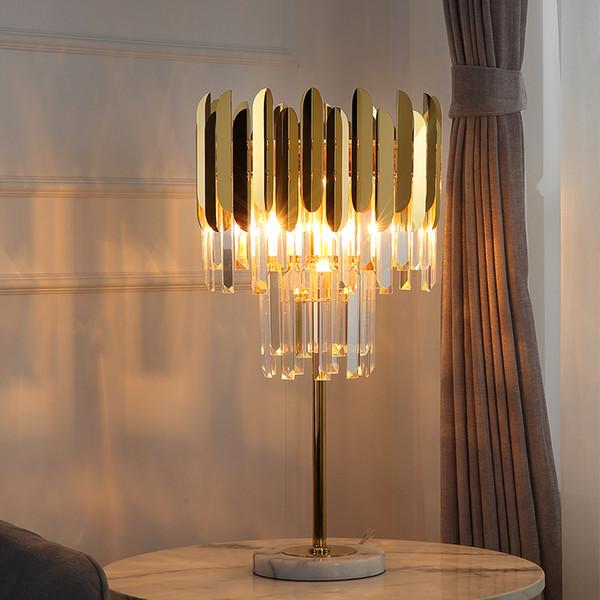 Lampe de table en cristal moderne chambre lampe de chevet en acier inoxydable or luxe salon décoration lampe de table