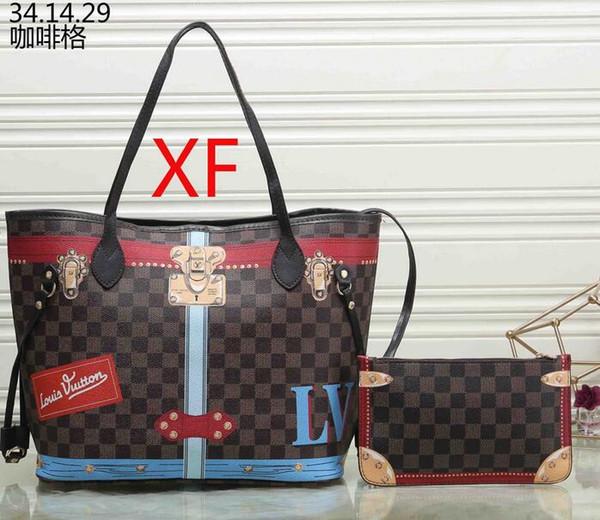 новые женские кожаные сумки женская мать пакет ручной матери накладная сумка женская сумка + маленькая сумка N51106 M40157