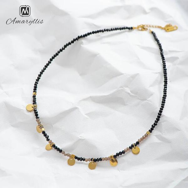 Amaiyllis main en verre Perles en Choker Collier pour les femmes Chic Charms disque en acier inoxydable Collier ras du cou Clavicule chaîne
