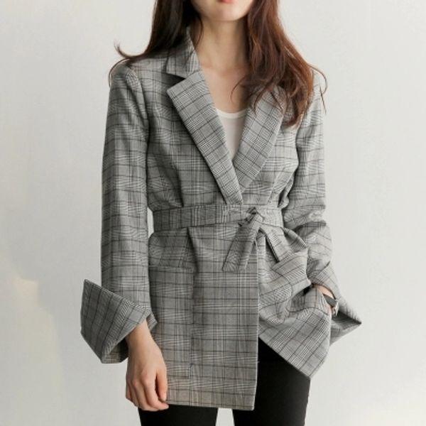 Autumn Winter Retro Plaid Medium Long Length Casual Female Fasten Belt Ket Office Lady Stylish Jacket Women