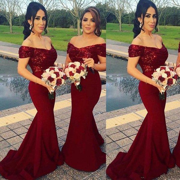Vestidos de dama de honor de color rojo vino fuera de las lentejuelas Mermaid Court Train Bling Bling Vestidos de dama de honor baratos
