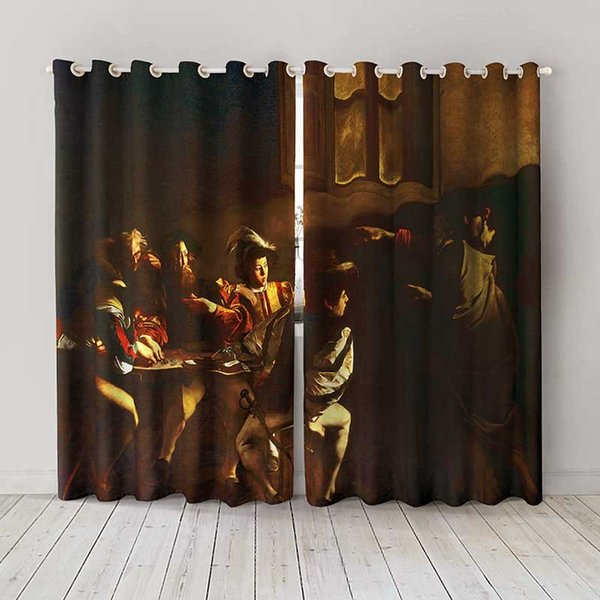 Personality Custom curtain world famous painting The Calling of Saint Matthew drapes Extra wide Blackout curtain party decoration background