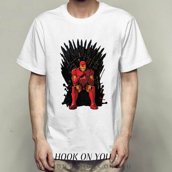 Iron t shirt Throne man sit short sleeve tops Mixed design fadeless tees Unisex white colorfast clothing Pure color modal Tshirt