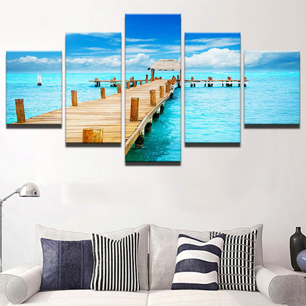 5 Panel Beach Scenery Wall Art Oil Painting On Canvas Printed Painting Pictures Decor Painting Large Living Room No Frame