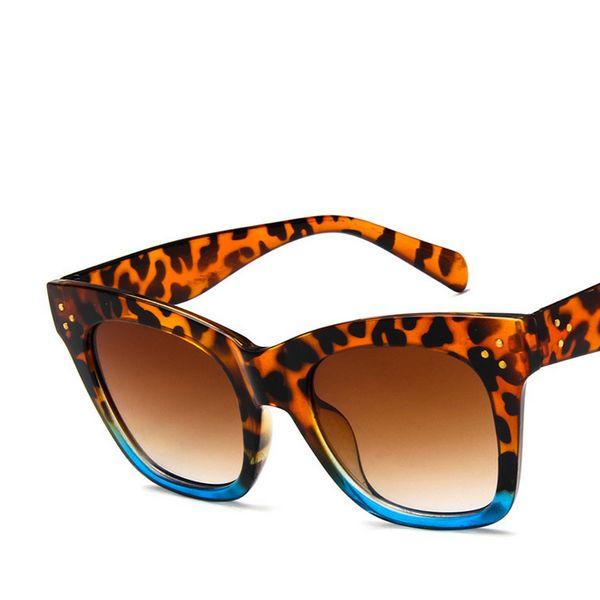 Atacado-clássico mulheres moda quadro óculos de sol marca Designer Brown Lens rebite Shades óculos de sol feminino Vintage Resina Eyewear UV400