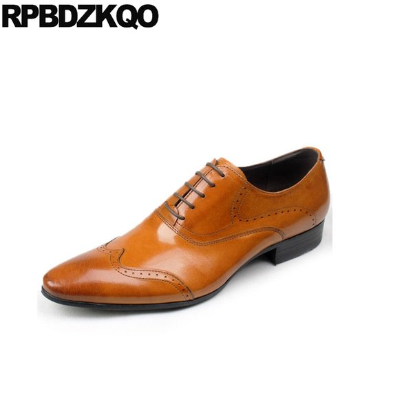 derby marron mariage vachette bout pointu bout d'aile robe hommes chaussures en cuir italien lace up up Italie formelle oxfords brogue
