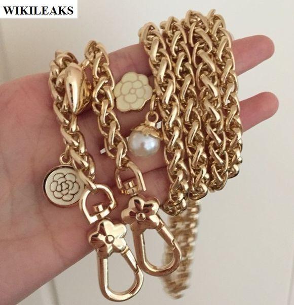 Bracelet en plaqué or chaîne en métal bretelles dames de fleur sac à main poignées ceinture crochet sac à main embrayage boucle accessoires perle amour